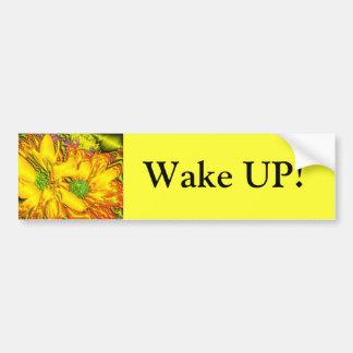 Wake Up Metallic Daisies Bumper Sticker