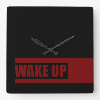 WAKE UP (red) Square Wall Clock