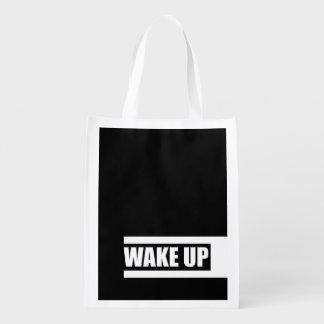 WAKE UP REUSABLE GROCERY BAG