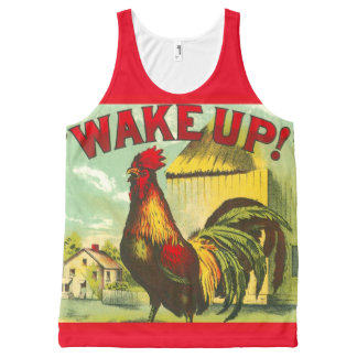 Wake Up Rooster Farm Country Run AllOver Print Top