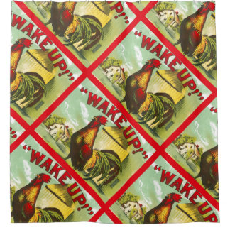 Wake Up Rooster Morning Farm Country Decor Vintage Shower Curtain