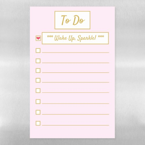 Wake Up, Sparkle Pink & Gold A3 Magnetic Dry Erase Sheet