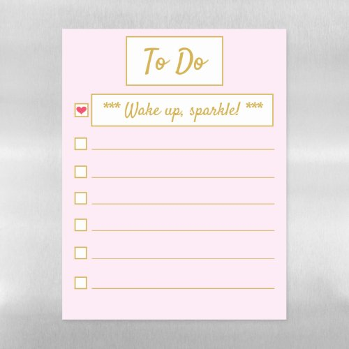 Wake Up, Sparkle Pink & Gold Letter Sized Magnetic Dry Erase Sheet