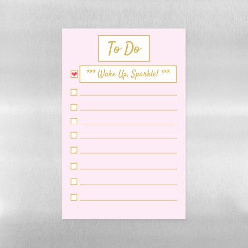 Wake Up, Sparkle Pink & Gold To Do Half Letter Magnetic Dry Erase Sheet