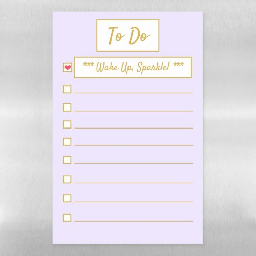 Wake Up, Sparkle Purple & Gold A3 Magnetic Dry Erase Sheet