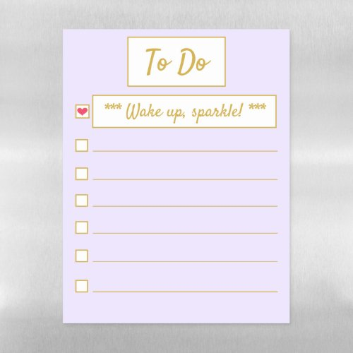 Wake Up, Sparkle Purple & Gold Letter Sized Magnetic Dry Erase Sheet