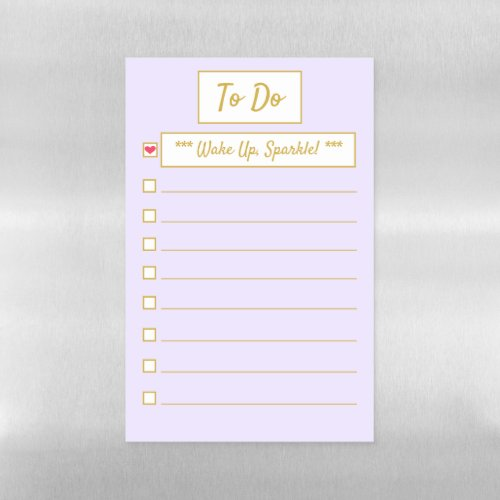 Wake Up, Sparkle Purple & Gold To Do Half Letter Magnetic Dry Erase Sheet