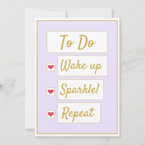 Wake Up, Sparkle, Repeat Purple & Gold Note Card
