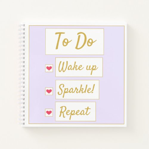Wake Up, Sparkle, Repeat Purple & Gold Notebook