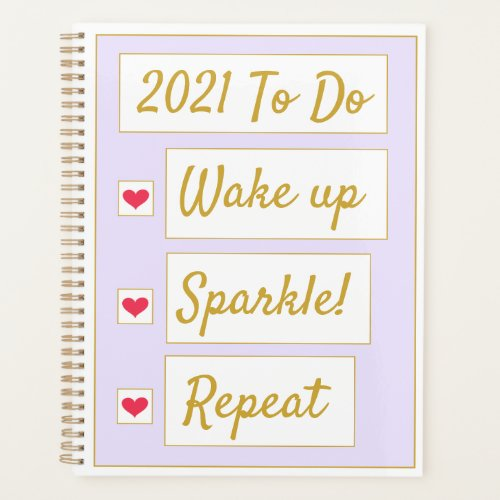 Wake Up, Sparkle, Repeat Purple & Gold Planner