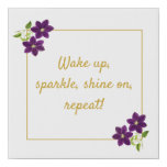 Wake Up, Sparkle, Shine On, Repeat Purple & Gold Faux Canvas Print