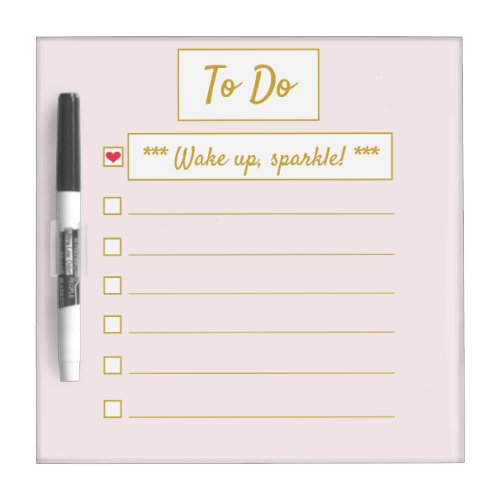 Wake Up, Sparkle To Do Pink & Gold Dry Erase Board