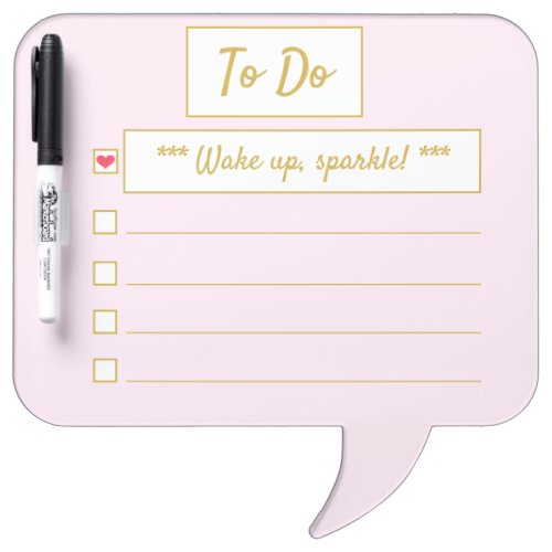 Wake Up, Sparkle To Do Pink & Gold Speech Bubble Dry Erase Board