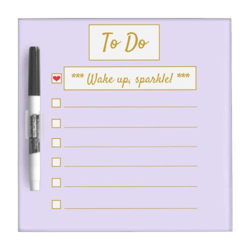 Wake Up, Sparkle To Do Purple & Gold Dry Erase Board