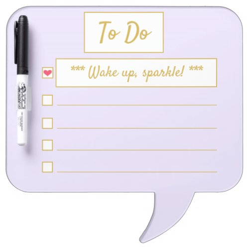 Wake Up, Sparkle To Do Purple & Gold Speech Bubble Dry Erase Board