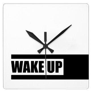 WAKE UP SQUARE WALL CLOCK