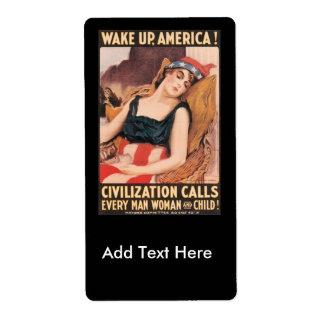 Wake Up World War II Label