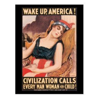 Wake Up World War II Post Cards