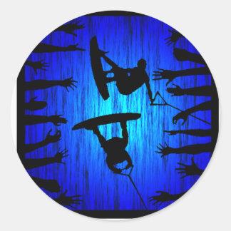 Wakeboard Blue Kicker Classic Round Sticker