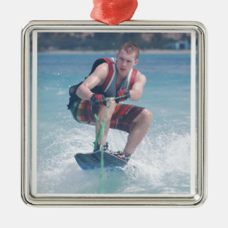 Wakeboard Crouch Metal Ornament