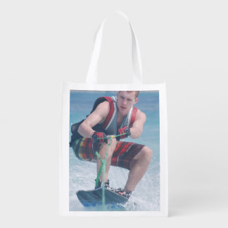 Wakeboard Crouch Reusable Grocery Bags