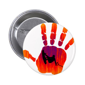 Wakeboard Red Handed Pinback Button