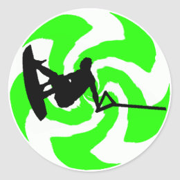 WAKEBOARD WATER DREAMS CLASSIC ROUND STICKER