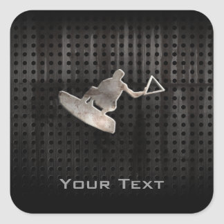 Wakeboarder; Cool Black Square Stickers