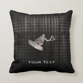 Wakeboarder; Cool Black Throw Pillow