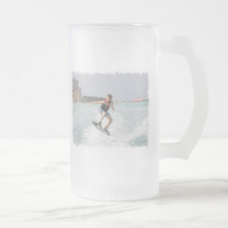 Wakeboarder Jumping Frosted Beer Mug