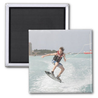 Wakeboarder Jumping Square Magnet