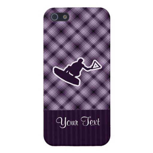 Wakeboarder púrpura iPhone 5 carcasas