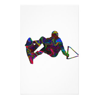 Wakeboarder Wild Colors Personalized Stationery