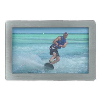 Wakeboarding en las zonas tropicales hebilla de cinturon rectangular