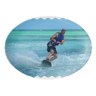 Wakeboarding in the Tropics Porcelain Serving Platter