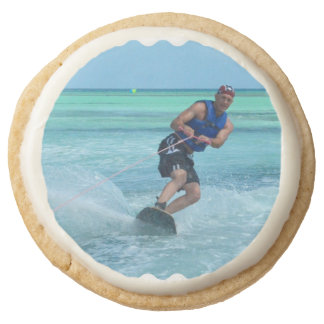Wakeboarding in the Tropics Round Shortbread Cookie