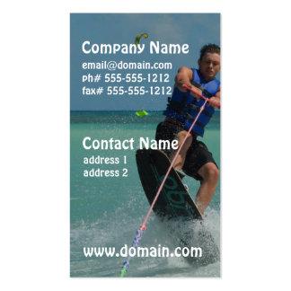 Wakeboarding tropical plantillas de tarjeta de negocio