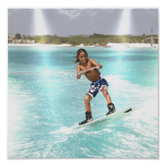 Wakeboarding Youngster Poster Print