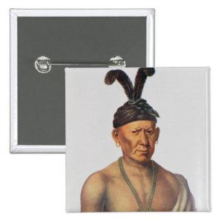 """Wakechai o """"Eagle que se agacha"""", un jefe de Sauk Pin Cuadrada 5 Cm"""