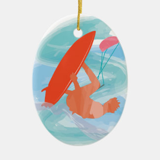 Wakestyle by Shirt to Design Double-Sided Oval Ceramic Christmas Ornament