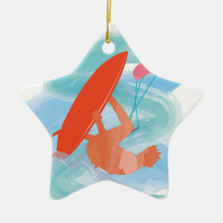 Wakestyle by Shirt to Design Double-Sided Star Ceramic Christmas Ornament