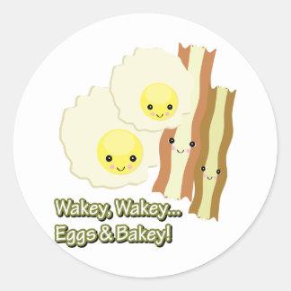 wakey wakey eggs n bakey classic round sticker