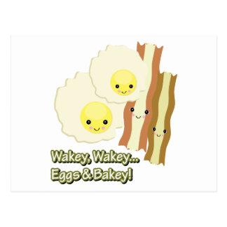 wakey wakey eggs n bakey postcard