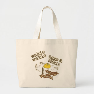 Wakie Wakie Eggs and Bakie Large Tote Bag