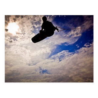 """""""Waking Life"""" Wakeboarder Inverted Silhouette Postcard"""