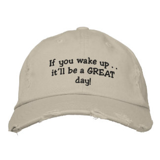 Waking up embroidered baseball cap