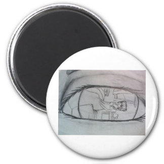 Waking up (side) 2 inch round magnet