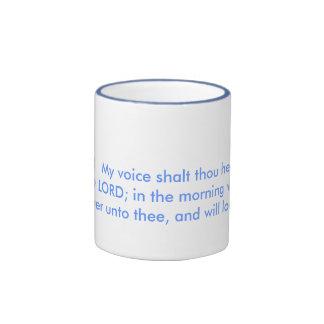 Waking up to positive morning bible scriptures. ringer mug