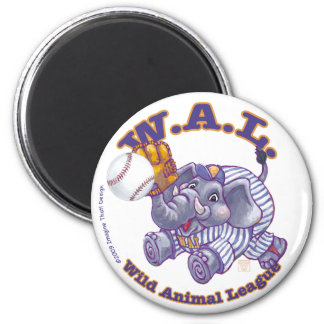 WAL Baseball 2 Inch Round Magnet