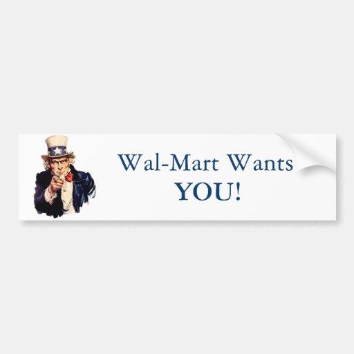 ¡Wal-Mart le quiere! Pegatina Para Auto
